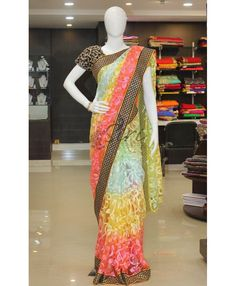 Multi colour soft net in allover embroidery work in fancy boder