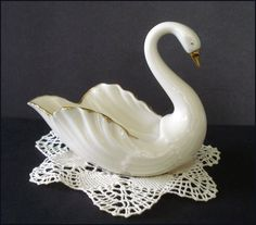 Lenox Swan Figurine - Ivory Porcelain with 24k Trim and Decoration by SusansShopSelections on Etsy