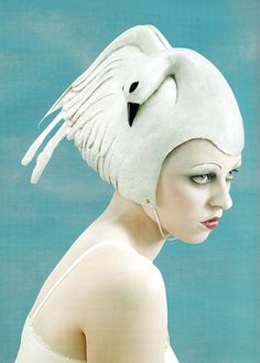 Gaby Herbstein wearing a swan swimming cap hat Mode Bizarre, Crazy Hats, Swim Caps, Love Hat, Looks Vintage, Mode Inspiration, Headgear, Headdress, Wearable Art