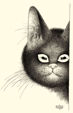 ¤Cat Illustration by Albert Dubout (1905-1976). Have you seen the mouse in his eye ?