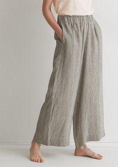 Women's Ticking Stripe Linen Wide Leg Trousers – Linen Dresses For Women Wide Leg Linen Pants, Linen Trousers, Wide Pants, Linen Skirt, Linen Dresses, Wide Leg Trousers, Natural Fiber Clothing, Striped Linen, Ticking Stripe