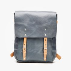 c9eb10dc3962d Blue Dotted Button Down   grey leather backpack