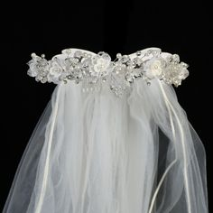 Crystal & Organza Flowers, Pearls & Rhinestones Wreath & White Veil First Holy Communion (One Size Girls)
