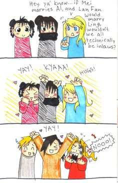 fma spoilers - relatives by ~sashimigirl92 on deviantART. That's adorable! Ling is my favorite character!