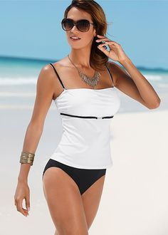 Venus Women's Tankini Swimsuit Tops - Black/white, Size 12