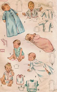 Vintage 1959 Simplicity 3043 Sewing Pattern Infant Layette One Size. $10.00, via Etsy.