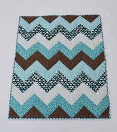 Grey and White Chevron Baby Quilt w/just a hint of by Ennzone ... : chevron baby quilt - Adamdwight.com