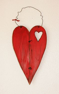 Valentine Decor   hanging wood heart by JHomeStudios on Etsy, $17.00
