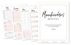 Planificadores Generales 2019 - Blog Espacio Creativo Bullet Journal Materials, Planners, Planner Organization, Bujo, Notebook, Study, School, Memes, Ideas Para