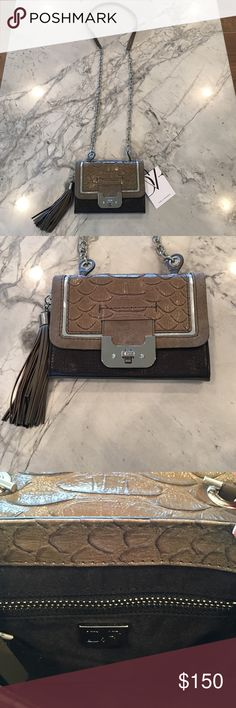 """Diane Von Furstenberg mini cross body bag DVF mini Harper Python Embossed bag in camouflage/birch. New with tags. Long silver chain strap that can be worn cross body or over the shoulder. Inside pocket and a zipped pocket. Perfect condition. Tassel on the side is detachable. 5""""H x 7""""L x 1"""" D. 23"""" drop from strap. Cowhide leather., Diane von Furstenberg Bags Mini Bags"""
