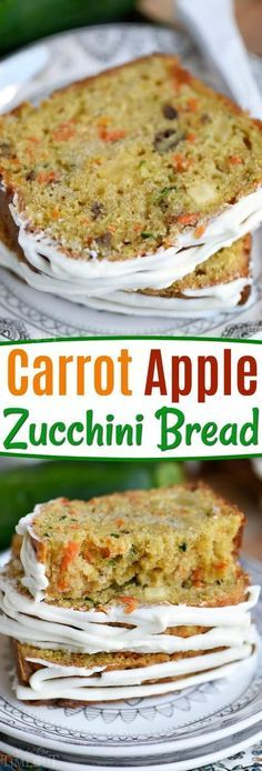 This Carrot Apple Zucchini Bread recipe is incredibly moist and flavorful! Vibrant colors from the carrot, apple, and zucchini makes this quick bread irresisitble! Sure to be a new favorite! // Mom On Timeout #zucchini #bread #carrot #apple #summer #recipe #momontimeout
