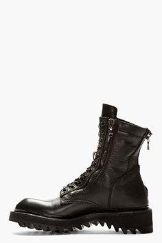 182d79244e5 JULIUS Black leather zipped COMBAT BOOTS Městská Móda