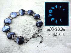 Glühen Sie in den dunklen Mond Phase Armband - Mondphasen Armband - leuchtenden Mond Galaxie Schmuck - Moon Bettelarmband - Sonnenfinsternis Schmuck