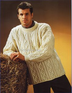 mens aran sweater knitting pattern 34-52 inches by Hobohooks