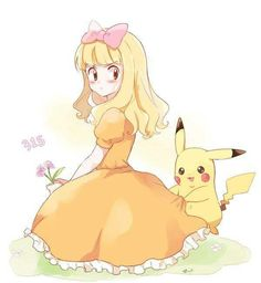 Female!Ash Ketchum and Pikachu ^.^ ♡ I give good credit to whoever made this