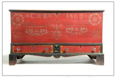 """Garth's Sale 1084 Lot 150. Mar 16 2013.           Sold for $14,460.   DECORATED BLANKET CHEST.  Peter K. Thomas, Soap Hollow, PA, dated 1862, poplar. Dovetailed case over 2 drawers, interior till. Bracket feet. Original stenciled decoration """"CB 1862"""" & """"Manufactured by Peter K. Thomas,"""" on a red ground, trimmed in black & yellow. 28""""h. 47.5""""w. 26.5""""d.   Estimate $ 10K-15K.   Missing escutcheon inlays; replaced period pressed glass pulls, chest includes period porcelain pulls."""