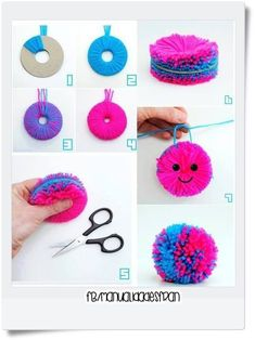 Shared by Solxci. Find images and videos about cute, pink and cool on We Heart It - the app to get lostas tul make pompoms step by stepround pom pom with facetutorials Ideas, Craft Ideas on tutorialsFluffy fur made from yarn Kids Crafts, Diy And Crafts Sewing, Crafts For Teens, Easter Crafts, Crafts To Sell, Christmas Crafts, Pom Pom Crafts, Yarn Crafts, Pom Pom Diy