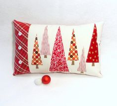 CHRISTMAS TREE PILLOW in Red & White. by DesignItAgainCrafts, $35.00