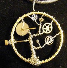 Time Tree steampunk wire wrapped pendant with watch hand