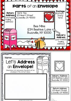 Let's address an envelope! Valentine's Day cut and paste activity.