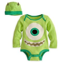 Disney Store Monsters Inc. Mike Wazowski Onesie Costume Bodysuit (Organic Cotton) for Baby/Infant/Toddler Boys Size 6-12 Months with Matching Horned Hat