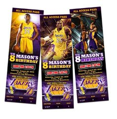 La Lakers Birthday Party Invitations Ticket photo cards custom baby 1st first - Digital File | upadesigns - Digital Art  on ArtFire