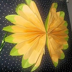 Girls Party Decorations - Set of 7 Yellow Tissue Paper Flowers