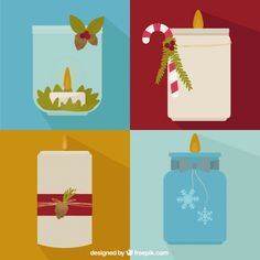 Beautiful decorative christmas candles Free Vector