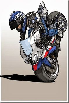 Cartoon Stoppie http://goo.gl/IejkTF #Art #BMWMotorrad