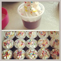 Birthday Jell-O shots  Package of chocolate jello pudding 1 cup of milk  1 cup of kahlua or baileys (I used kahlua)   Follow the instructions for making pudding, but instead of 2 cups of milk use 1 cup milk 1 cup alcohol. Let it sit until it turns to pudding, top with cool whip and sprinkles. Look like mini cupcakes and taste delicious