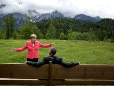 """""""We were at the G7 Summit in Krün, Germany. Chancellor Angela Merkel asked the leaders and outreach guests to make their way to a bench…"""