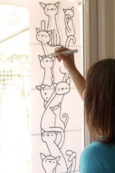 Kattenstapel #raamtekening door Cats Only (foto door Alles is foto)