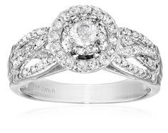 10k White Round Diamond (1cttw, I-J Color, I2-I3 Clarity) Split Twist Shank Bridal Ring