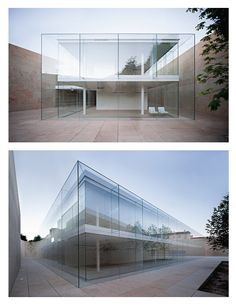 Zamora Offices by Alberto Campo Baeza Within the stone box, a glass box, only glass. Like a greenhouse. With a double facade similar to a Trombe wall. The external skin of the facade is made of glass, each single sheet measuring 600x300x1,2 and all joined together simply with structural silicone and hardly anything else. As if entirely made of air. The trihedral upper angles of the box are made completely with glass, thus even further accentuating the effect of transparency.: