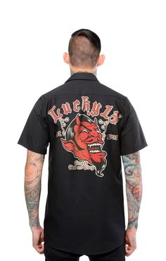 Lucky 13 Grease Gas & Glory Men's Short Sleeve Workers Button Up Shirt #Lucky13 #GraphicTee