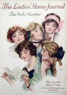 Art by F. Earl Christy (1883-1961) for the cover of The Ladies' Home Journal, February 1914. Christy's work glorified young women, especially the society college girl, always beautiful and beautifully dressed even while reading a letter.