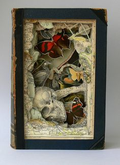 Cut book constructions by artist Alexander Korzer-Robinson, who carefully and strategically cuts vintage books to leave behind only certain images, resulting in these amazing 3D art prints. | via Free People bldg 25 blog