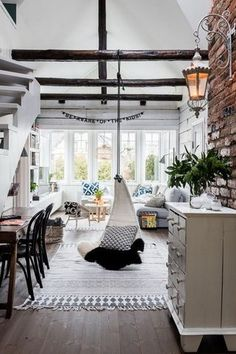 What a beautiful white, Scandinavian interior! Take a look for a full home tour - Roomed Bohemian Living Rooms, Home Living Room, Living Spaces, House Doctor, Deco Boheme, Casa Real, Home And Deco, Scandinavian Interior, Scandinavian Style