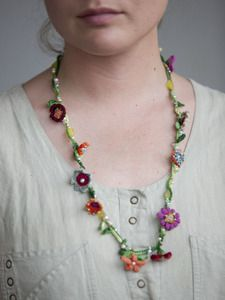 Hand crocheted flower necklace.