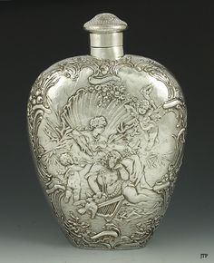 flaskl Sterling Silverware, Secret Box, Metal Engraving, Man Stuff, Grab Bags, Whisky, Flask, Perfume Bottles, Porcelain