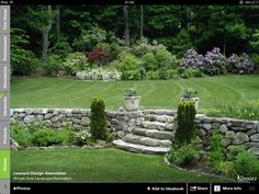 stone wall with elevation change + natural stone steps