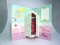 Pop Out Cards, Pop Up Greeting Cards, 3d Cards, Paper Doll House, Paper Dolls, Hanging Paper Decorations, Book Crafts, Paper Crafts, Casa Pop