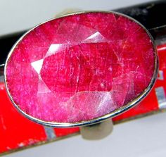 FACETED RUBY RING SILVER  44.50 CTS LJ-59  ruby  gemstone ring,  silver gemstone ring