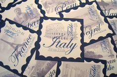 vintage travel stamps table numbers