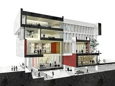 Perspective/ section art & architecture дизайн. Architecture Presentation Board, Architecture Board, School Architecture, Architecture Design, Architecture Diagrams, Architecture Graphics, Sectional Perspective, Architecture Foundation, World Architecture Festival