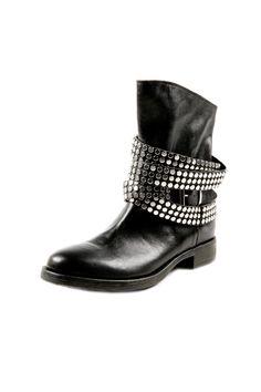 Edgy Stud Strap Leather Boot #shoes #fashion #biker #goth #punk #rocker #biker