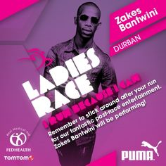 Remember to stick around after your run! Zakes Bantwinin will be performing at the Totalsports Ladies Race in Durban. #TSrunpink #TSrun