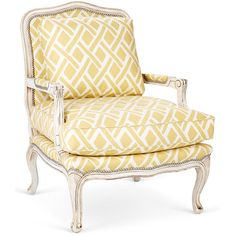 Harper Bergère Yellow Lattice Accent & Occasional Chairs ($1,799) ❤ liked on Polyvore featuring home, furniture, chairs, accent chairs, handcrafted furniture, nailhead furniture, nailhead trim chair, lattice chair and yellow chair