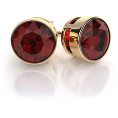 Bezel Set Garnet Earrings in 18k Yellow Gold (1,150 ILS) ❤ liked on Polyvore featuring jewelry, earrings, accessories, brincos, jóias, 18k gold jewellery, gold garnet earrings, gold earrings jewelry, gold earrings and gold jewellery