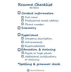 Resume checklist - the basics